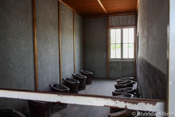 Prisoner toilets in Dachau Concentration Camp in Dachau Germany