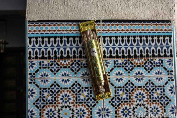 Mezuzah at the entrance of Inside Lazama Synagogue in Marrakesh Morocco