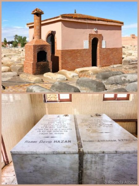 Mausoleum and graves in the Jewish cemetery in Marrakesh