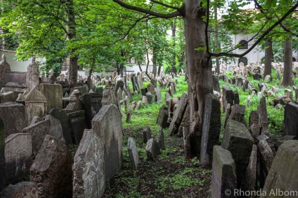 Grave markers in the Old Jewish Quarter in Prague Czech Republic