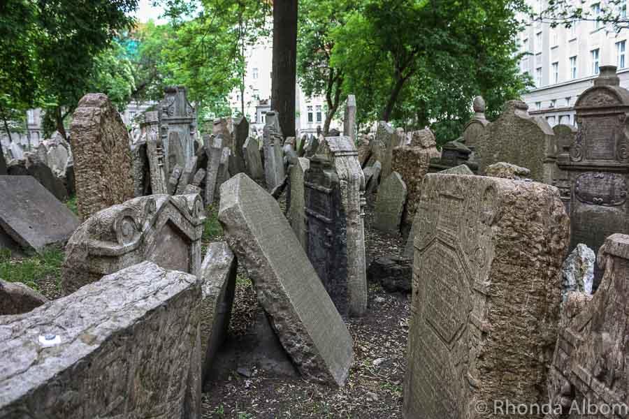 Grave stones in the Old Jewish Quarter in Prague Czech Republic