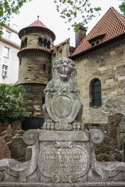 Lion grave stone in the Old Jewish Quarter in Prague