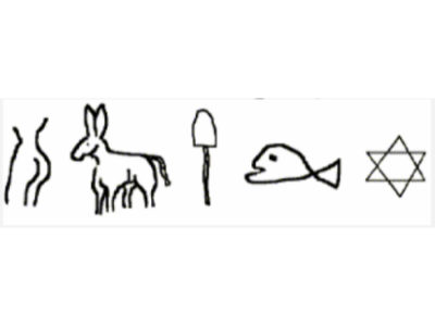 Jewish Hieroglyphics - symbols used in the Holy Mackerel Joke - women, donkey, shovel, fish, Star of David