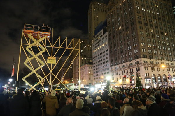 The world's largest Hanukkah menorah at Fifth Avenue at Central Park in New York City on the first night of Hanukkah, December 24th, 2016