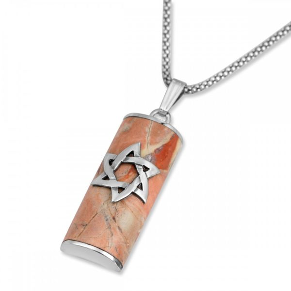Rafael Jewelry Star of David Sterling Silver and Jerusalem Stone Mezuzah Necklace