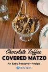 A serving bowl of chocolate toffee covered matzo