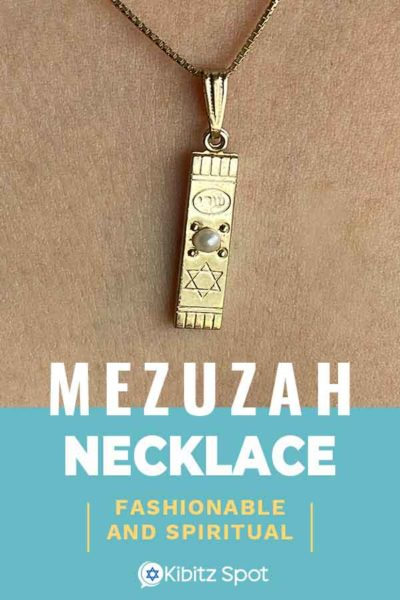 A mezuzah necklace worn around the neck