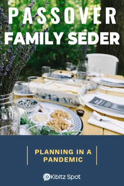 Passover Family Seder dinner table set for an outdoor meal
