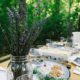 Outdoor table set for the Jewish holiday of Passover
