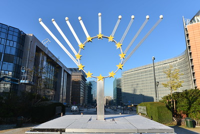 Large outdoor menorah with the EU symbol in the centre, in Brussels, Belgium