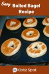 Bagels being made on a baking sheet after being removed from an oven