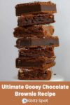 A stack of gooey fudgy chocolate brownie squares