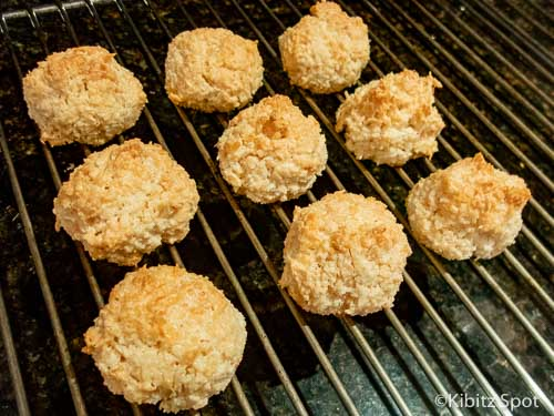 Gluten-free coconut macaroons on a cooling rack