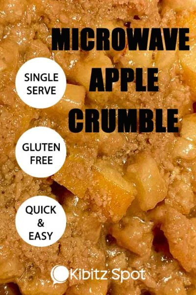 Close up photo of gluten free single serve microwaveable apple crumble
