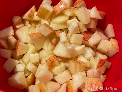Diced apples in a microwave safe bowl