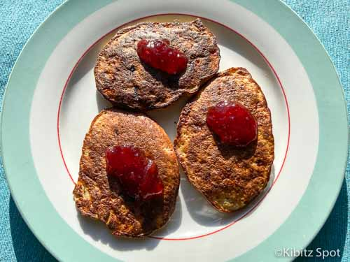 Gluten free and dairy free pancakes with strawberry jam
