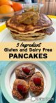 Two serving suggestions for 3 ingredient gluten and dairy free pancakes, one image with pancakes topped with kaya and the other image with pancakes topped with strawberry jam
