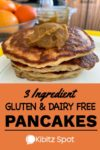 A stack of 3 ingredient gluten and dairy free pancakes topped with kaya