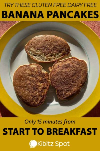 A plate of 3 gluten and dairy free pancakes