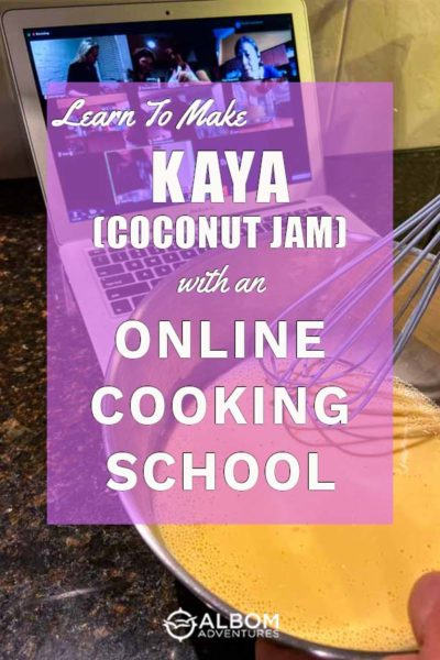 Whisking egg yolks while making kaya (coconut jam) during an online cultural cooking class