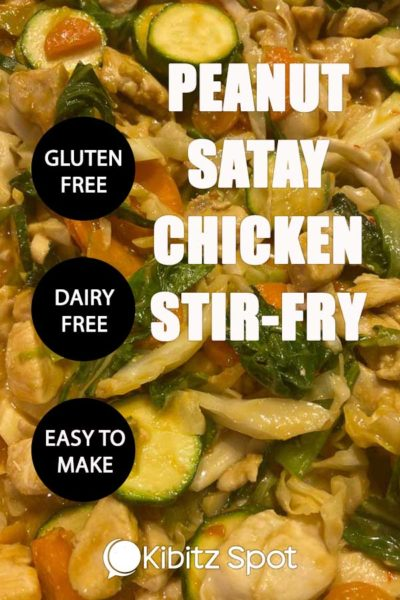 A close up view of peanut satay chicken stir-fry