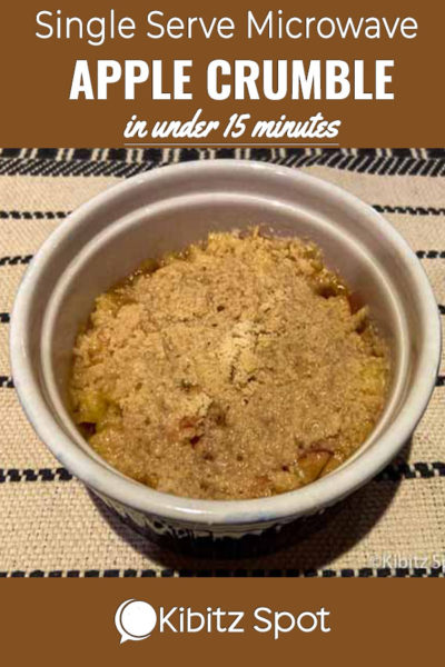A view of the finnised gluten free apple crumble made in a microwave oven in a ramekin dish
