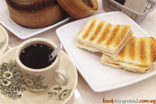 Kaya toast with coffee