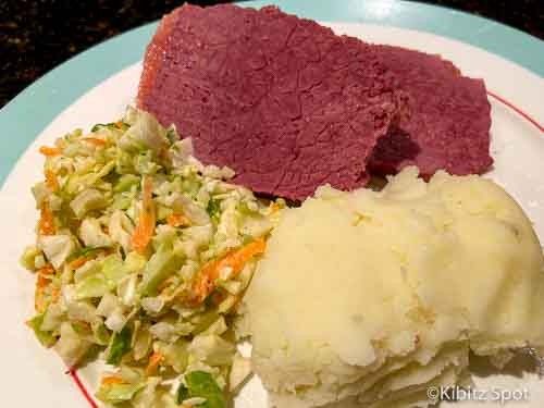 Coleslaw as a side dish with fresh corned beef