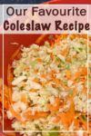 A closeup view of a bowl of freshly made coleslaw
