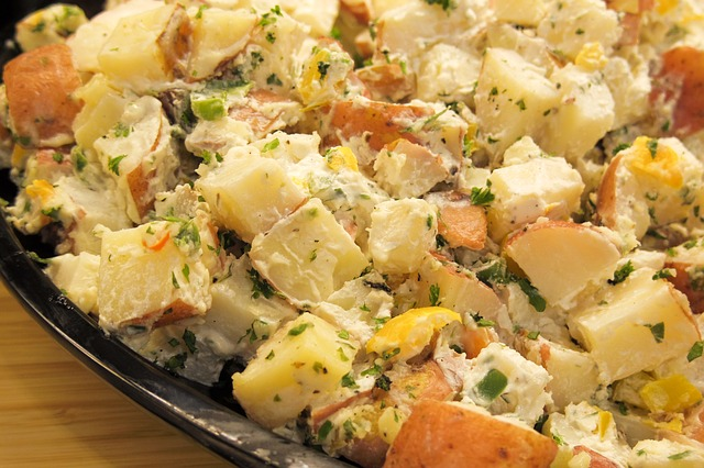 A dish of gluten free potato salad