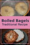 Bagels boiling in a pot and finished with a shmear of Cream cheese
