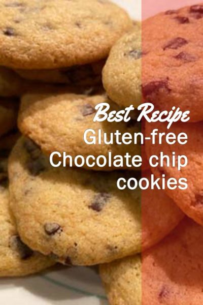 A close up view of homemade gluten free chocolate chip cookies
