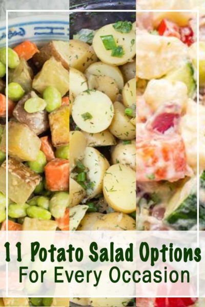 Three different potato salads, part of our collection of gluten free potato salad recipes