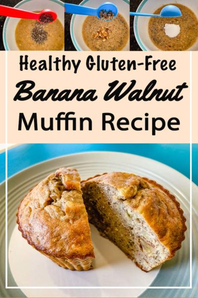 Step by step photos show how to make a gluten free banana walnut muffin