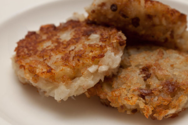 Thick potato latkes