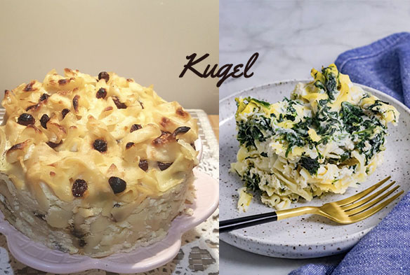two different kugels on plates, one is a gluten free kugel, the other has spinach