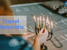 Lighting a small travel menorah