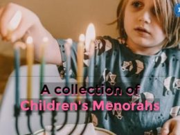 A child lighting a menorah with the words a collection of children's menorahs