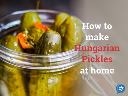 A jar of homemade Hungarian pickles