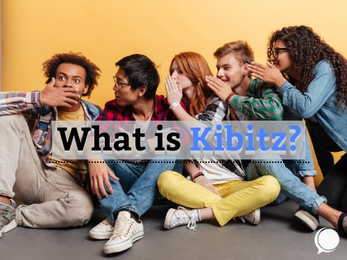A group of people in a line whispering as a visual example of the word Kibitz