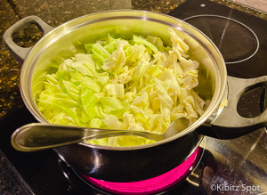 chopped cabbage in a pot