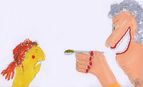 Cartoon drawing of grandma saying open your mouth as she feeds child petcha soup
