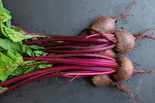 A bunch of raw beetroot