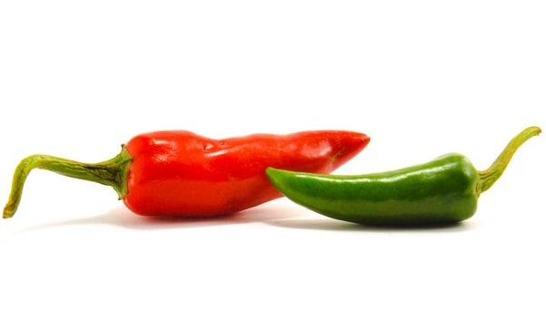 one red and one green chili