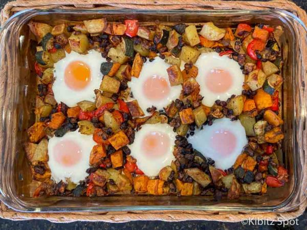 Ready to serve pan of gluten free egg casserole