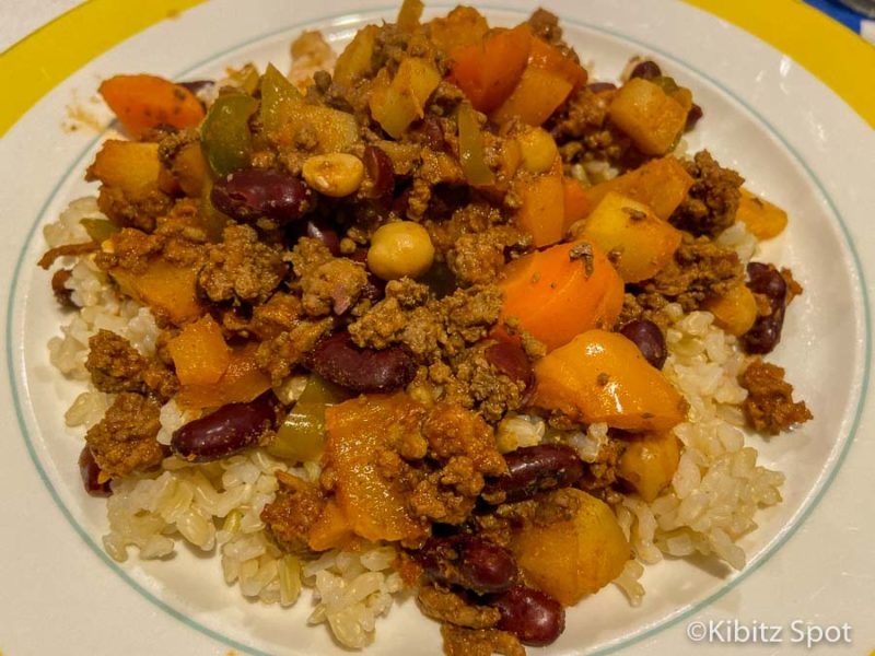 Tex-Mex chili con carne made with beans, vegetables, beef