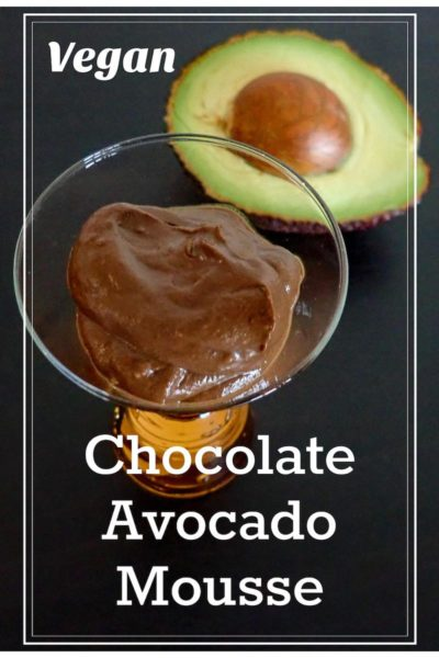 A cup of vegan and gluten-free chocolate avocado mousse